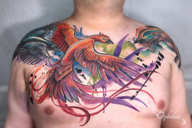 Colourful Bird tattoo Ophelia Lytham
